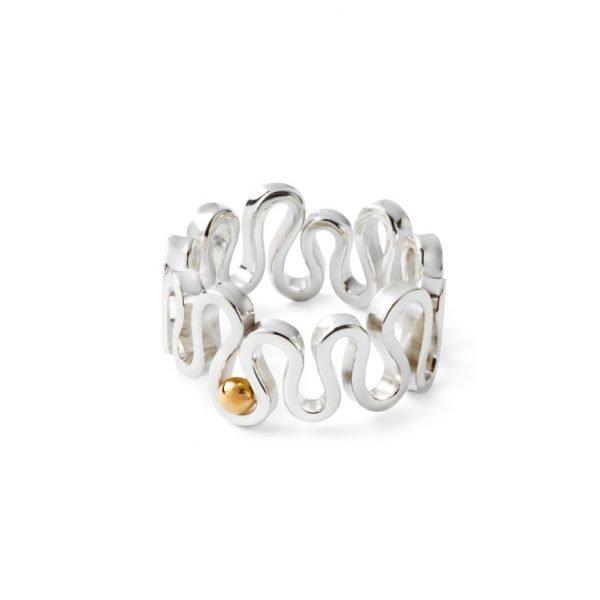 Flamenco ring - 18 karat hvidguld med 18 karat guldkugle