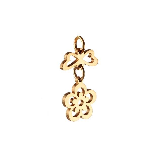 Blomst med hjertevinger - vedhæng, 14 karat guld