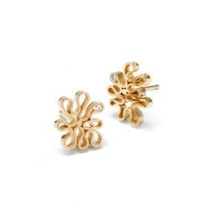 Flamenco ørestikker - 18 karat guld med diamanter