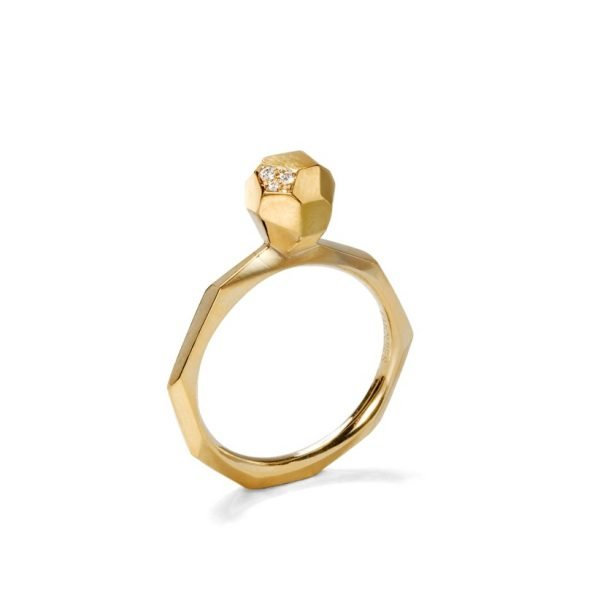Facet ring - 18 karat guld med diamanter