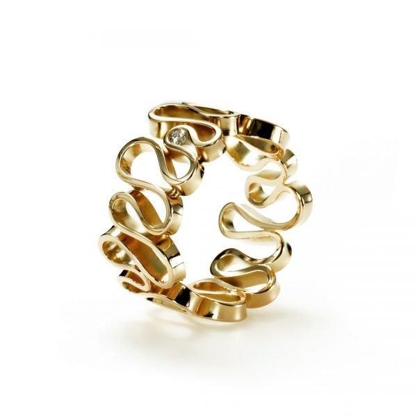 Flamenco ring - 18 karat guld med diamant