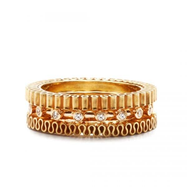 Ring - 18 karat guld med diamanter