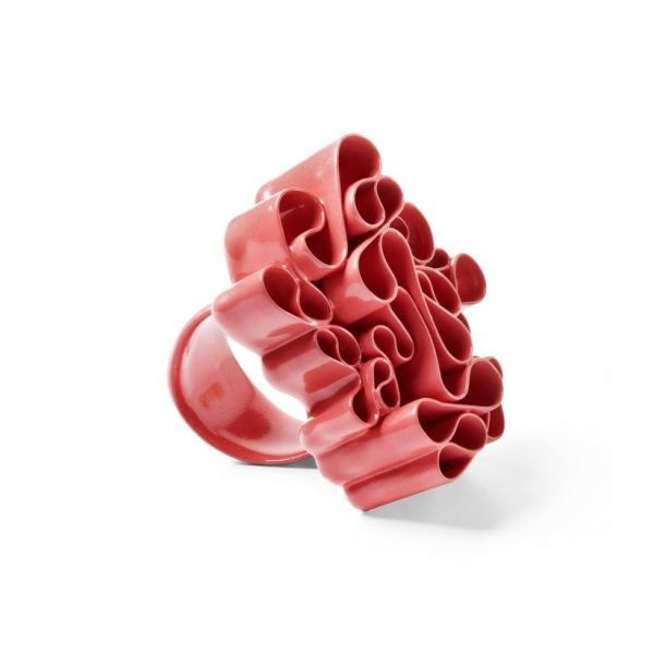 Urban Garden farvelakeret ring i sølv, rosé rød