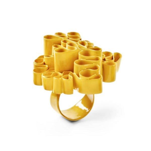 Urban Garden farvelakeret ring i sølv, gul