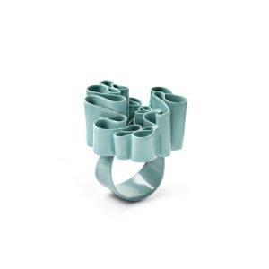 Urban Garden farvelakeret ring i sølv, turkis
