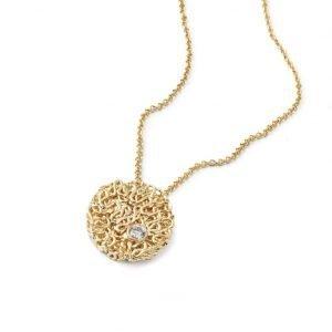 Squeeze vedhæng i 18 karat guld med diamant i guldkæde