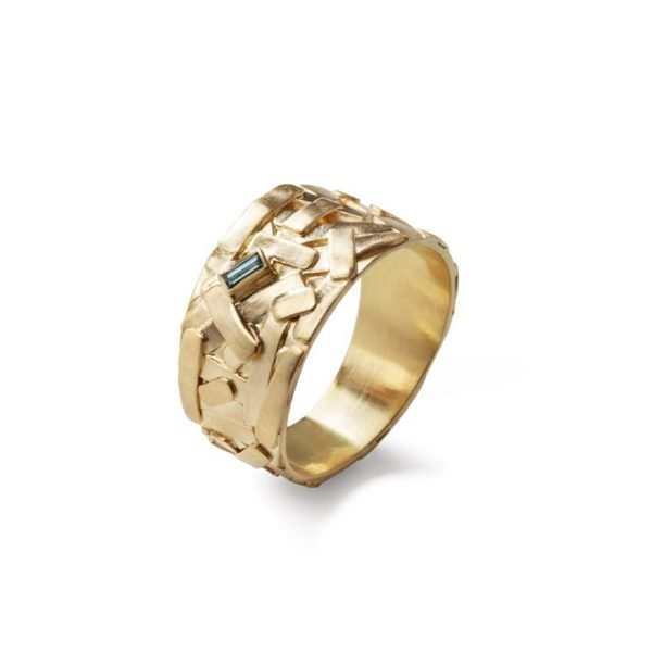 Trash ring i guld med ocean farvet diamant