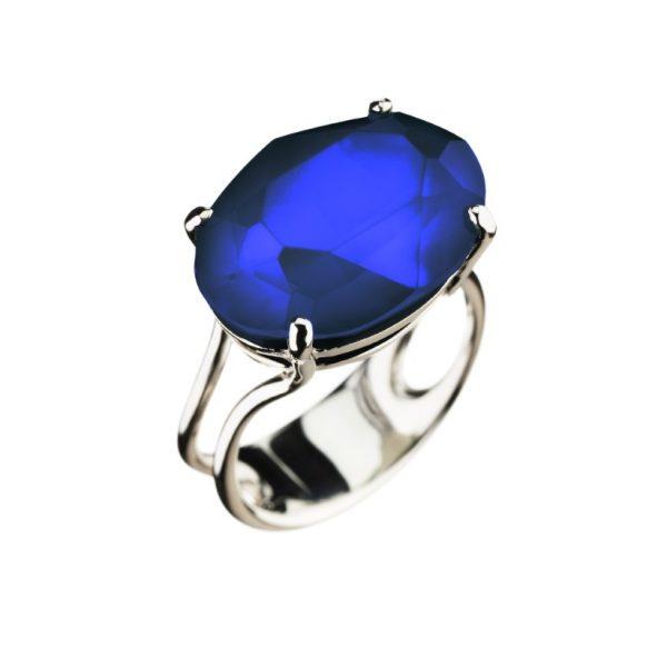 Colour Cocktail ring in opak dark blue