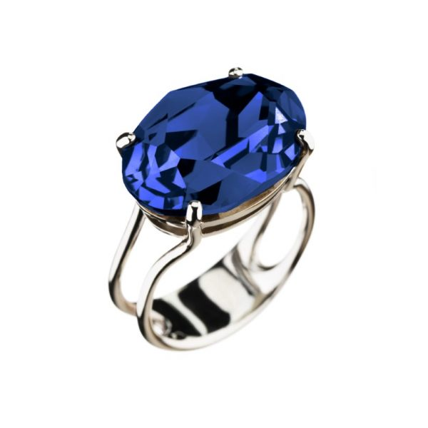 Colour Cocktail ring in sparkling blue