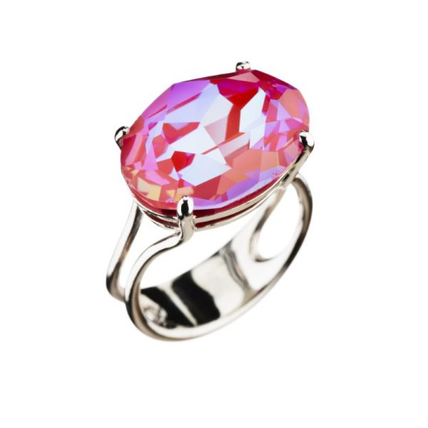 Colour Cocktail ring in Sparkling pink
