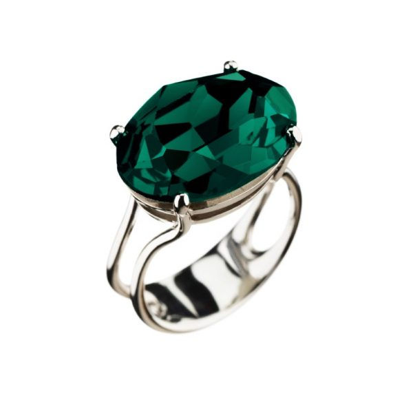 Colour Cocktail ring in Dark Green